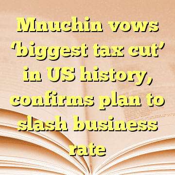 Mnuchin vows 'biggest tax cut' in US history, confirms plan to slash business rate