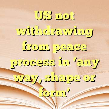 US not withdrawing from peace process in 'any way, shape or form'