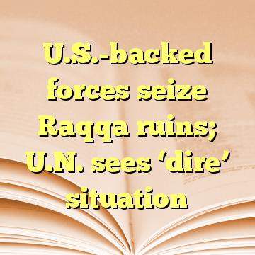 U.S.-backed forces seize Raqqa ruins; U.N. sees 'dire' situation