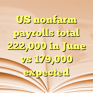 US nonfarm payrolls total 222,000 in June vs 179,000 expected