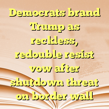 Democrats brand Trump as reckless, redouble resist vow after shutdown threat on border wall