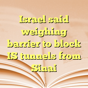 Israel said weighing barrier to block IS tunnels from Sinai