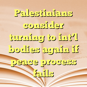 Palestinians consider turning to int'l bodies again if peace process fails