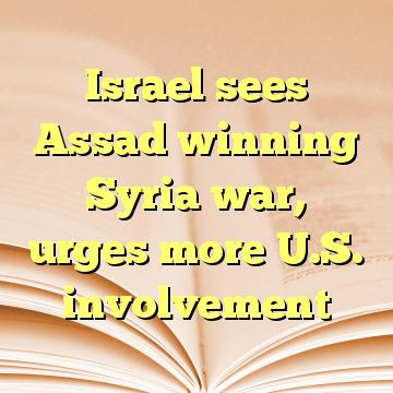 Israel sees Assad winning Syria war, urges more U.S. involvement