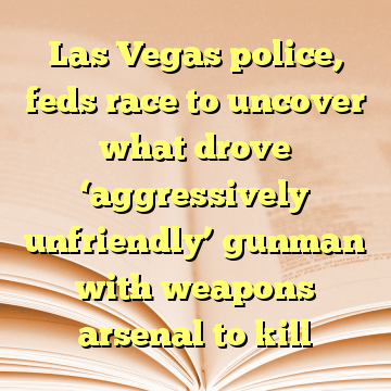 Las Vegas police, feds race to uncover what drove 'aggressively unfriendly' gunman with weapons arsenal to kill
