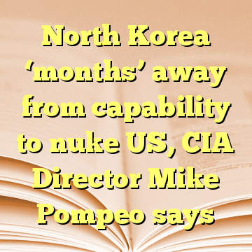 North Korea 'months' away from capability to nuke US, CIA Director Mike Pompeo says