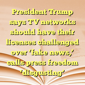President Trump says TV networks should have their licenses challenged over 'fake news,' calls press freedom 'disgusting'