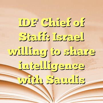 IDF Chief of Staff: Israel willing to share intelligence with Saudis
