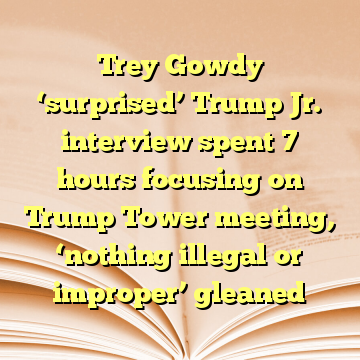 Trey Gowdy 'surprised' Trump Jr. interview spent 7 hours focusing on Trump Tower meeting, 'nothing illegal or improper' gleaned