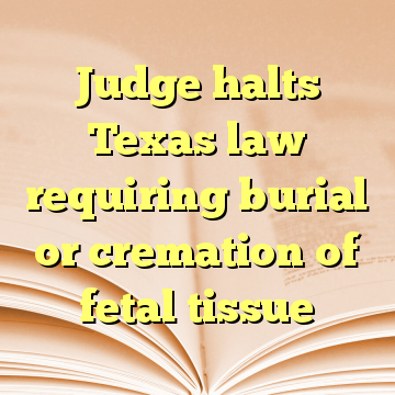 Judge halts Texas law requiring burial or cremation of fetal tissue