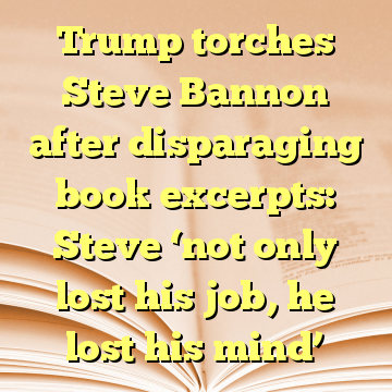 Trump torches Steve Bannon after disparaging book excerpts: Steve 'not only lost his job, he lost his mind'