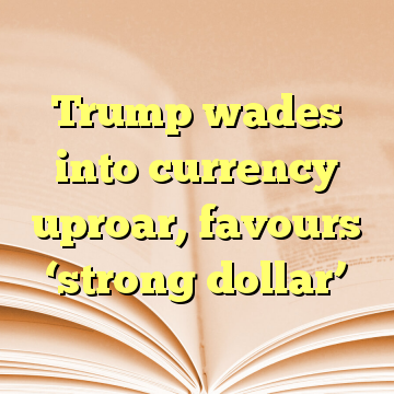 Trump wades into currency uproar, favours 'strong dollar'