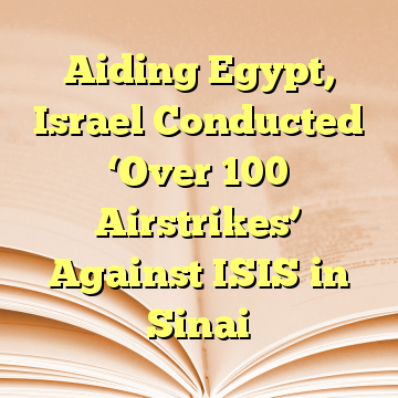 Aiding Egypt, Israel Conducted 'Over 100 Airstrikes' Against ISIS in Sinai