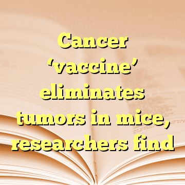 Cancer 'vaccine' eliminates tumors in mice, researchers find