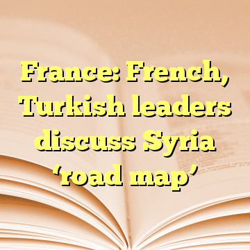 France: French, Turkish leaders discuss Syria 'road map'