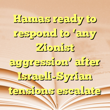Hamas ready to respond to 'any Zionist aggression' after Israeli-Syrian tensions escalate