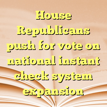House Republicans push for vote on national instant check system expansion