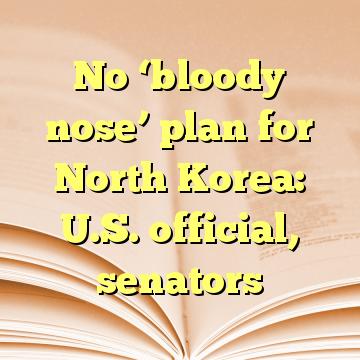 No 'bloody nose' plan for North Korea: U.S. official, senators