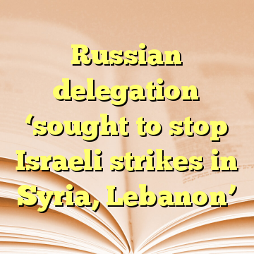 Russian delegation 'sought to stop Israeli strikes in Syria, Lebanon'