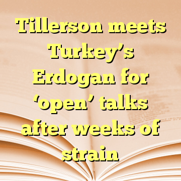 Tillerson meets Turkey's Erdogan for 'open' talks after weeks of strain