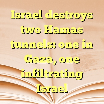 Israel destroys two Hamas tunnels: one in Gaza, one infiltrating Israel