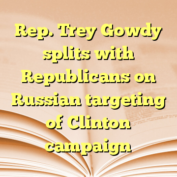 Rep. Trey Gowdy splits with Republicans on Russian targeting of Clinton campaign