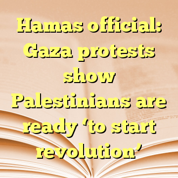 Hamas official: Gaza protests show Palestinians are ready 'to start revolution'