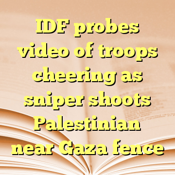 IDF probes video of troops cheering as sniper shoots Palestinian near Gaza fence