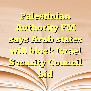 Palestinian Authority FM says Arab states will block Israel Security Council bid
